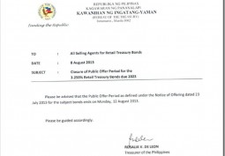 CLOSURE OF PUBLIC OFFER PERIOD for 3.250% RETAIL TREASURY BONDS DUE 2023